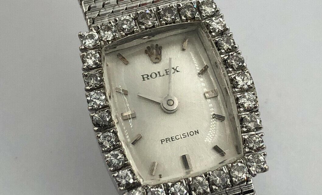 Vtg Rolex Precision 14K 18k White Gold Mesh .42ct Diamond 17j Ladies Wrist Watch