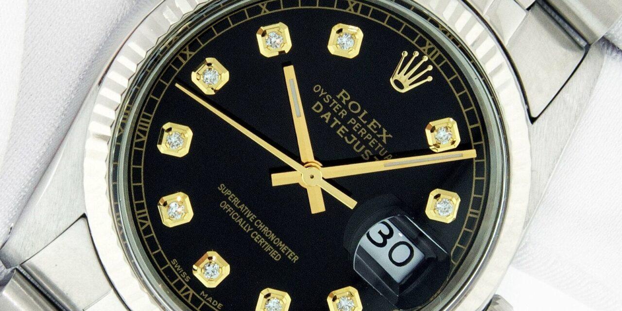 Rolex  16014 DateJust 36mm Steel – 18 karat White Gold Men's Watch with Black…