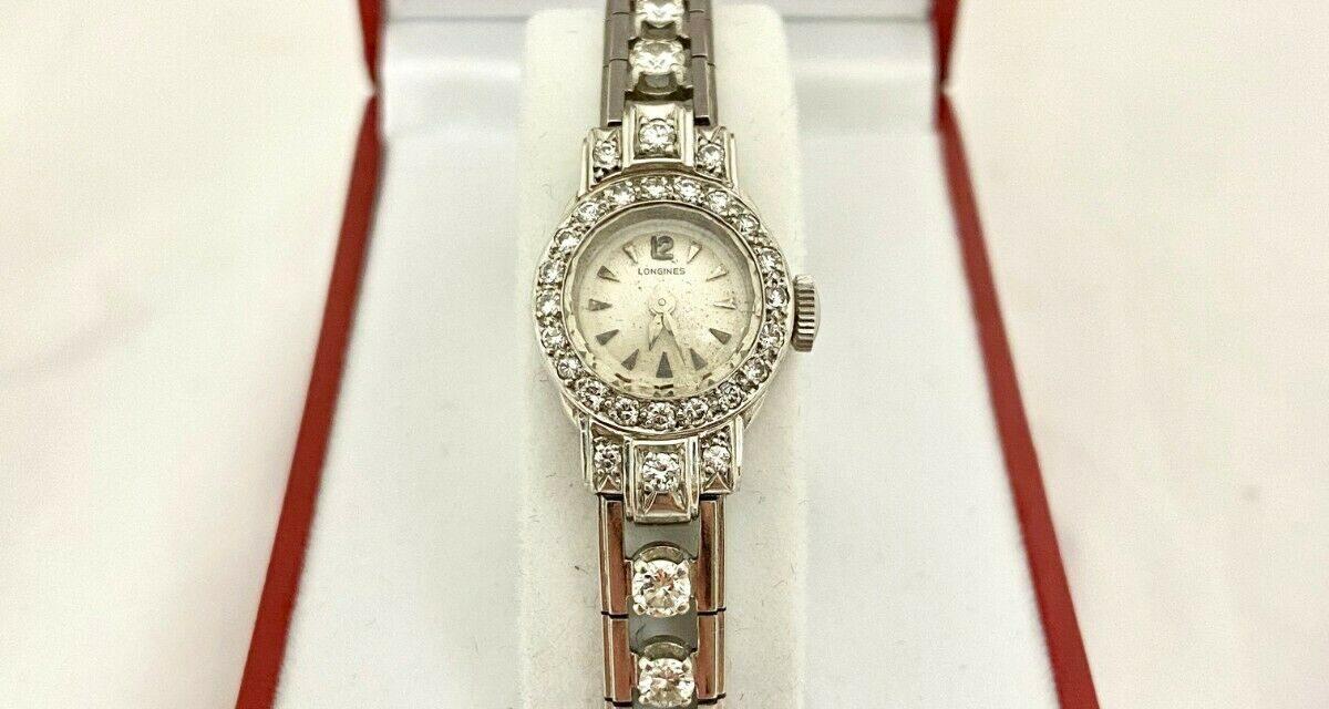 Elegant Vintage Longines Platinum & Diamond Ladies Wrist Watch Art Deco