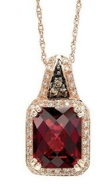 LeVian 14K Rose Gold Rhodolite Garnet Round Brown Diamond Halo Pendant Necklace
