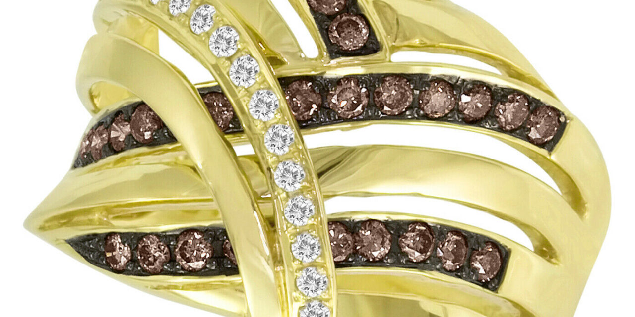 LeVian 14K Yellow Gold Round Chocolate Brown Diamond Classy Fancy Cocktail Ring