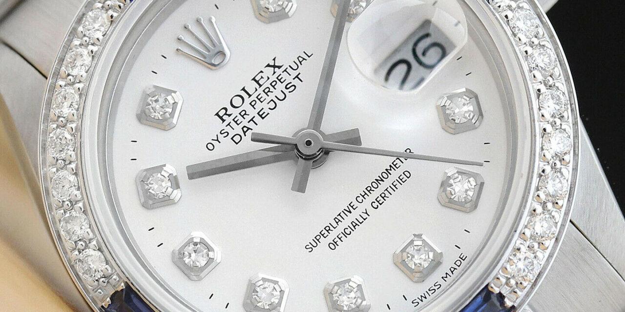 LADIES ROLEX DATEJUST 18K WHITE GOLD DIAMOND SAPPHIRE & STEEL WATCH – WHITE DIAL