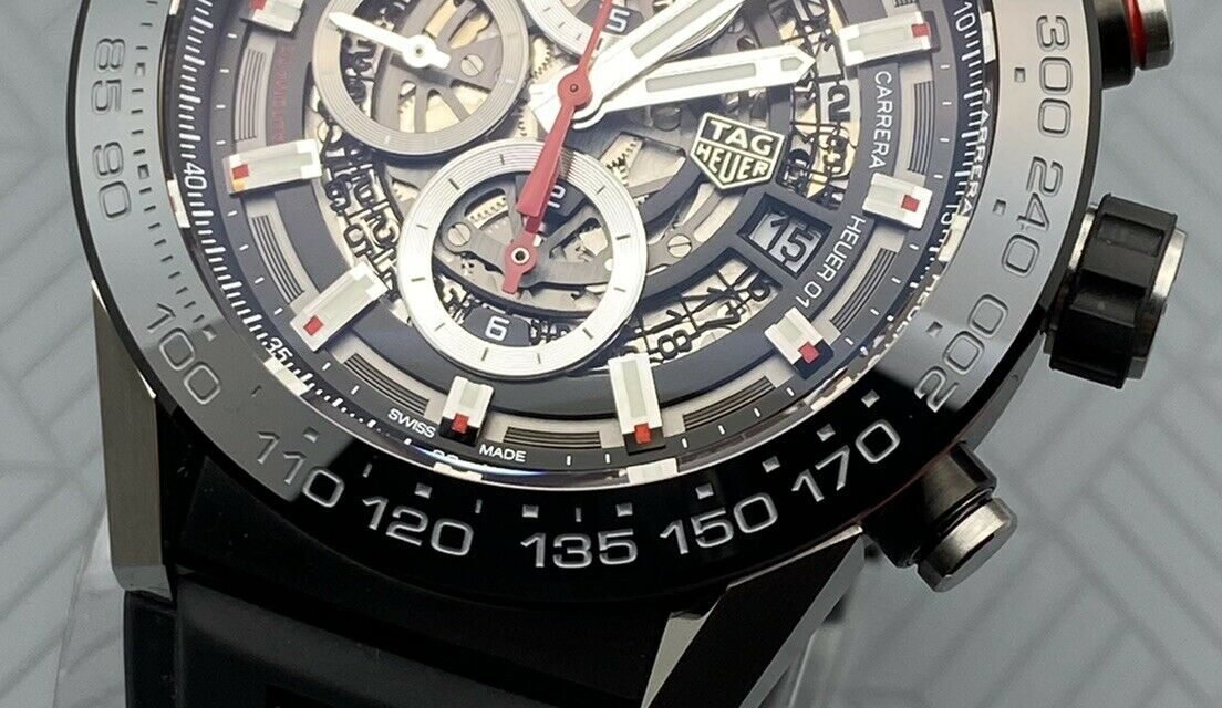 Swiss Tag Heuer Carrera Skeleton Automatic Chronograph Men's Model CAR2A1Z-0