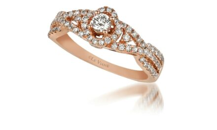 LeVian 14K Rose Gold Round Chocolate Brown Diamond Bridal Wedding Halo Ring