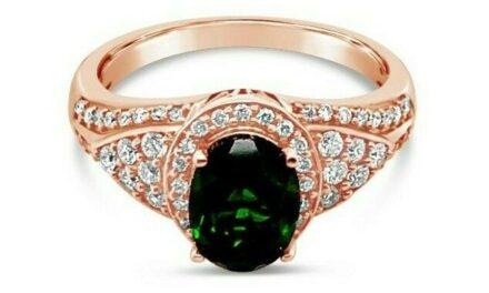 NEW LeVian® Ring Pistachio Diopside® Vanilla Diamonds® 14K Strawberry Gold®