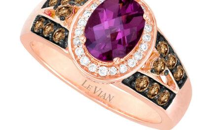 LeVian 14K Rose Gold Rhodolite Garnet Round Brown Diamond Halo Cocktail Ring