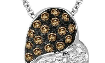 LeVian 14K White Gold Round Chocolate Brown Diamonds Love Heart Pendant Necklace