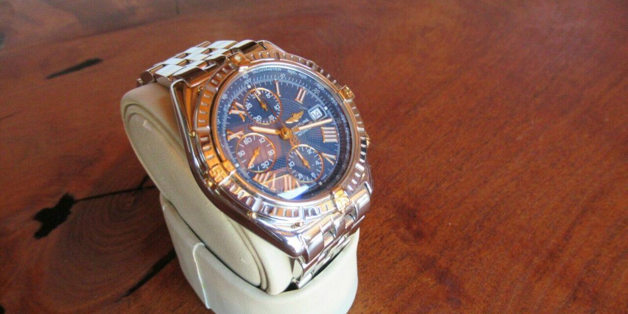 Excellent Men's Breitling Crosswind Racing 18K and Steel 43 mm Blue Dial Watch