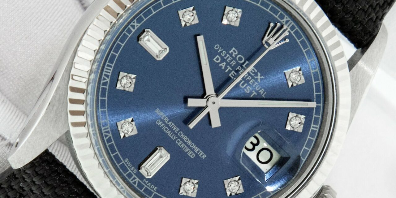 Rolex  DateJust 36mm Steel and White Gold Men's Watch with Blue Diamond Dial