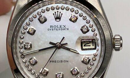 Estate $10,000 WHITE MOP Diamond SS ROLEX Mens 34mm OYSTERDATE Watch WARRANTY