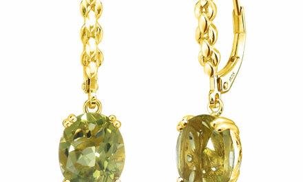 Birthstone Yellow Gold Plated Silver Yellow Lemon Quartz Dangle Drop Earrings