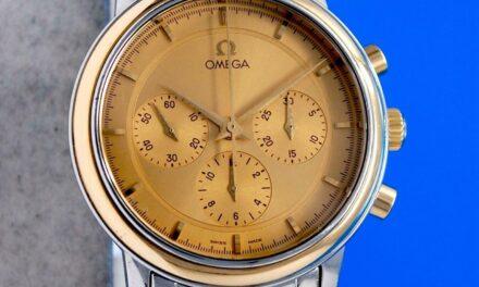 Mens Omega DeVille Prestige 18K Gold & SS Chronograph Watch – Mechanical Wind