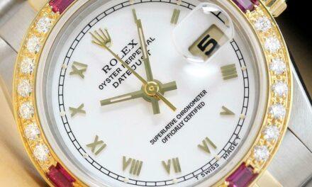 ROLEX LADIES DATEJUST WHITE ROMAN RUBY DIAMOND 2TONE 18K YELLOW GOLD/SS WATCH