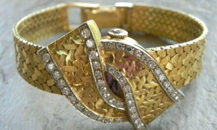 Omega * Stunning Lady's Vintage 18k Yellow Gold & Diamond Fancy Fold Over Watch