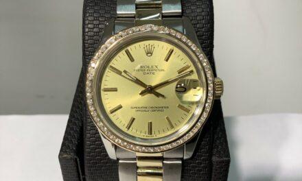 ROLEX Ref. 1505 DATE  S/Steel & 18K Y/Gold Mens 34mm Watch w/ Diamond Bezel! A++