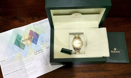 ROLEX 18KT GOLD & Stainless MidSize YACHTMASTER Champagne Dial 168623