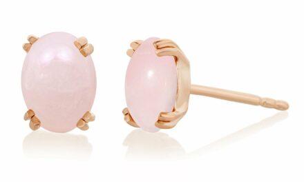 8mm Rose Quartz Cabochon Stud Earrings 14K Rose Gold over .925 Sterling Silver