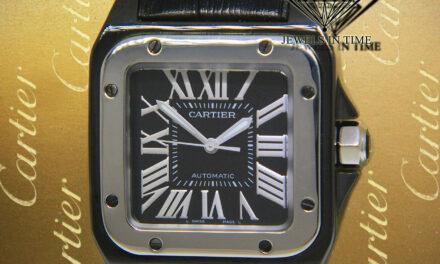 Cartier Santos 100 Steel PVD Black Roman Dial Automatic 33mm Midsize Watch 2878