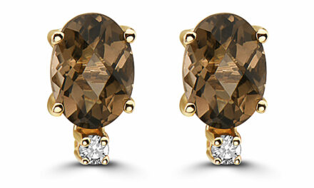 Birthstone Earrings 1 1/3 cts Natural Brown Quartz Nude Diamonds 14K Yellow Gold