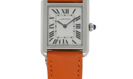 Cartier Tank Solo W5200014 3170 Steel Orange Leather Quartz Women's Watch