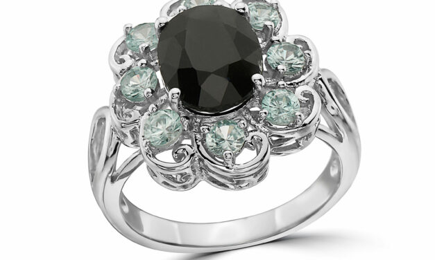 LeVian 925 Sterling Silver Black Sapphire Blue Zircon Flower Cocktail Halo Ring