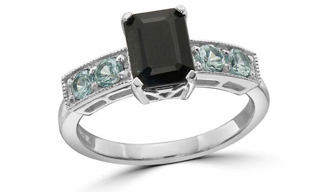 LeVian 925 Sterling Silver Black Sapphire Blue Zircon Gemstone Cocktail Ring