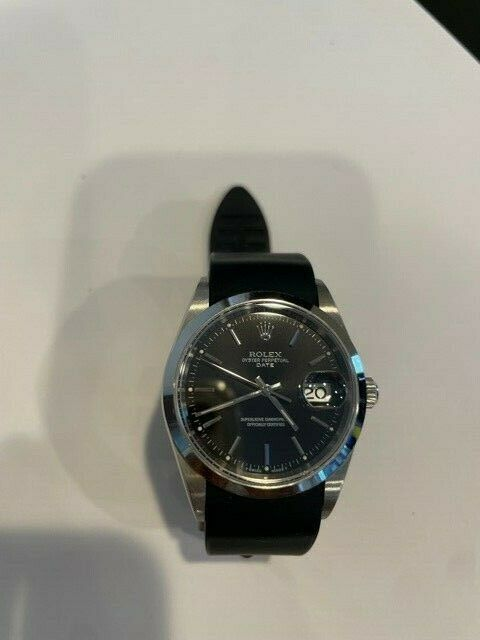 Rolex Oyster Perpetual Date Black Dial 34mm Ref 15200 Stainless Steel Mens