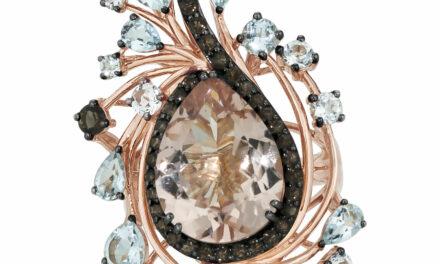 LeVian 14K Rose Gold Morganite Aquamarine White Topaz & Smoky Quartz Ring Size 7