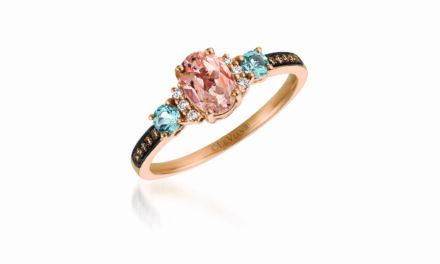 LeVian 14K Rose Gold Morganite Aquamarine White/Chocolate Diamond Ring Size 7