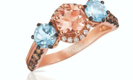 LeVian 14K Rose Gold Morganite Aquamarine Chocolate Brown Diamond Cocktail Ring