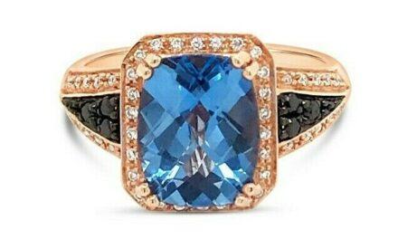 Arusha Exotics Ring Blue Topaz Black Diamonds Vanilla Diamonds 14K Rose Gold