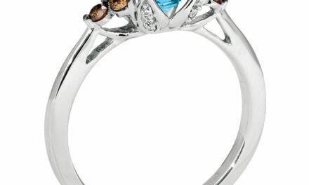 LeVian 14K White Gold Blue Topaz Chocolate Diamond Flared Ring – Size 5-1/2