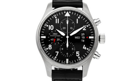 IWC Pilots Chronograph Auto 43mm Steel Mens Strap Watch Day Date IW3777-01