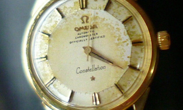 1962 VINTAGE 18K SOLID GOLD OMEGA CONSTELLATION 551 PIE PAN AUTOMATIC MENS WATCH