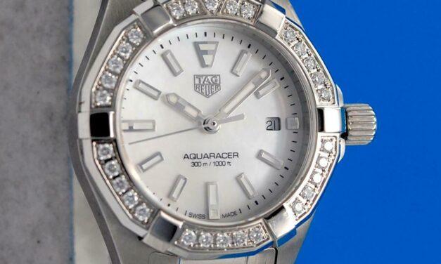 Ladies Tag Heuer Aquaracer SS 300M watch – MOP Dial – Diamond Bezel – WBD1413