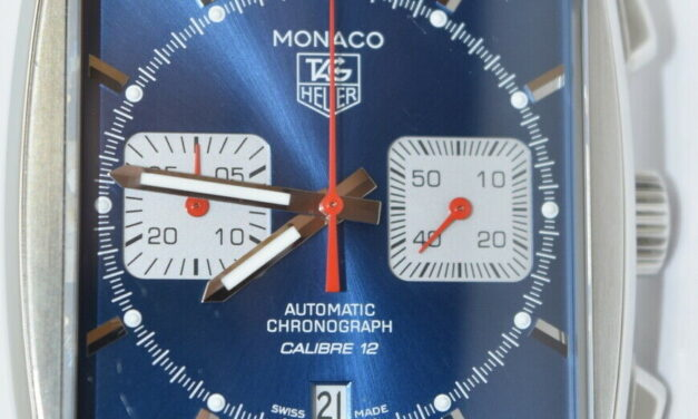 Tag Heuer Monaco CAW2111-1 Chronograph Automatic Blue Dial Watch Leather band