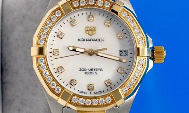 Ladies Tag Heuer Aquaracer 18K Gold watch – MOP Diamond Dial & Bezel – WBD1323