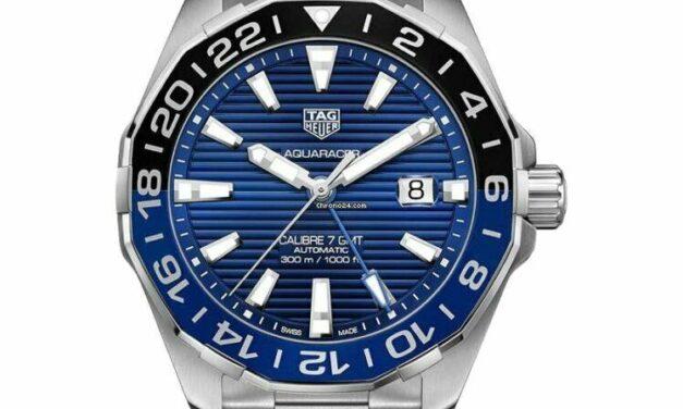 TAG Heuer Aquaracer WAY201T.BA0927 Blue dial 300m Gmt 43MM black watch men's