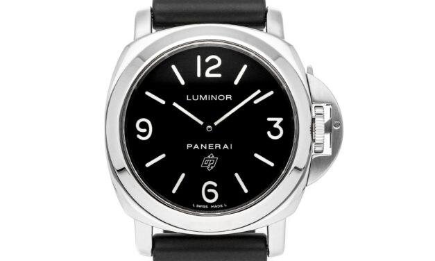 Panerai Luminor Base Logo Manual 44mm Steel Mens Strap Watch PAM 000