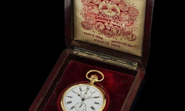 UNIQUE HISTORICAL LONGINES POCKET WATCH CHRONOGRAPH WITH BOX & PAPER, 18K GOLD