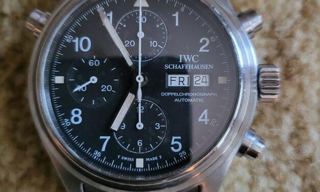 Excellent IWC Pilots Split Second Doppelchronograph Men's Wrist Watch