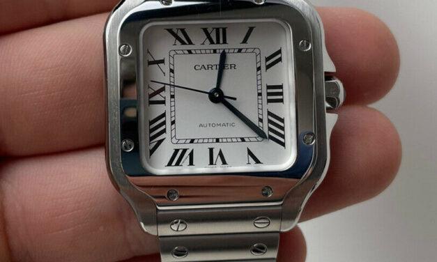 Cartier Santos de Cartier Medium Model Auto Steel Mens Bracelet Watch WSSA0029