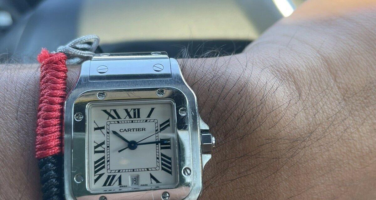 Cartier Santos Galbee 1564 29mm Quartz White Roman Numeral Dial Steel Watch